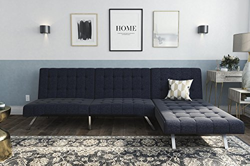 DHP Emily Sectional Futon Sofa Bed with Convertible Chaise Lounger Set, Navy Linen (Sectional Small Sleepers)