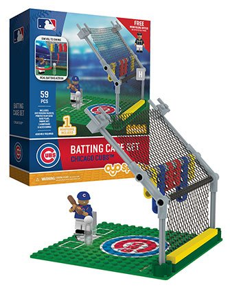 MLB Chicago Cubs Batting Cage Set with Minifigure, Small, (Home Run Set)