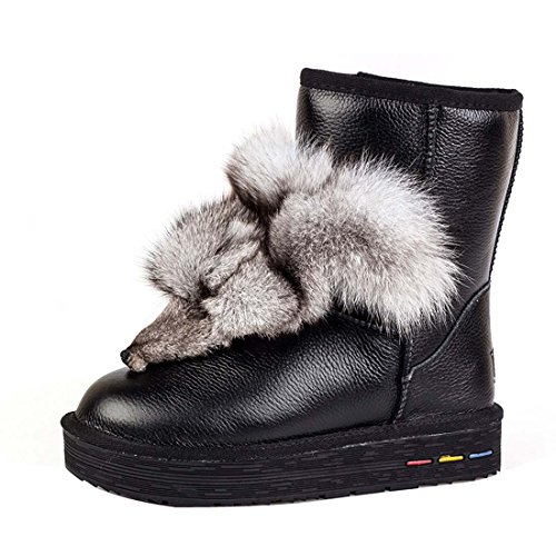 HooH Damen Leder Fox Schneestiefel 5835 Schwarz