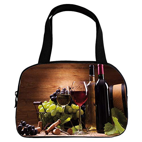 (iPrint Increase Capacity Small Handbag Pink,Wine,Glasses of Red and White Wine Served with Grapes French Gourmet Tasting Decorative,Brown Ruby Light Green,for Girls,3D Print Design.6.3