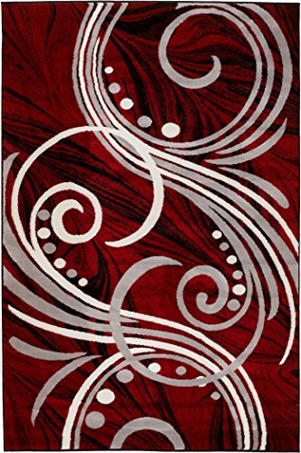 New Summit Elite S 49 Burgundy Black Grey Color Transitional Swirl Area Rug Modern Abstract Rug Many 2x3 2x7 4x6 5x7 8x11 (22'' inch x 35 '' inch Scatter Door mat Size)