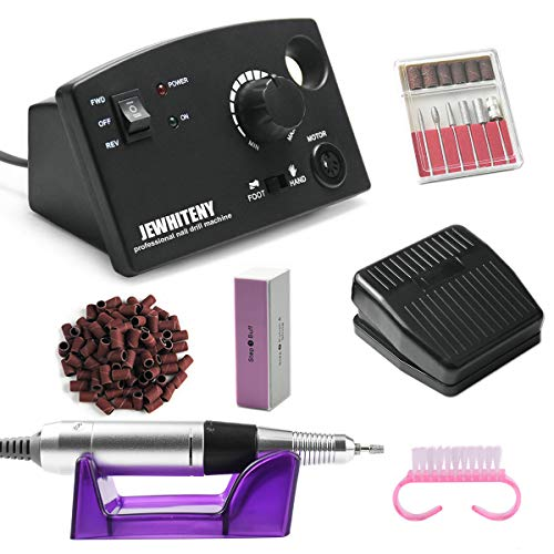 JEWHITENY Professional Nail Drill Machine 30,000RPM, Light Electric Acrylic Nail File Kits for Remove Nail Gel Polish, Manicure Machine Design for Home Salon Use, 110-240V(Black) (Best Drill For Home Use)