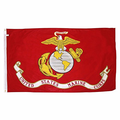 U.S. Marine Corps Military Flag 3x5 ft. - Durable Polyster Material - Large USMC Flag With Brass Grommets - For Hanging Outside or a Wall - Rico Ferrari Puerto