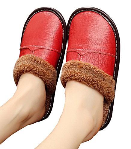 Cattior Womens Comfy Warm House Slippers Leather Slippers Red ti6zYOW
