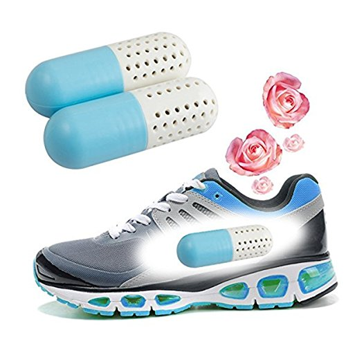 Shoes Odor Eliminator,Gracosy Air Purifying Deodorizer, Anti-bacteria Dryer, Anti-mold Deodorizer/Desiccant / Zeolite Particles for Shoes Blue 3.5 inch x 1.2 inch by gracosy (Image #2)