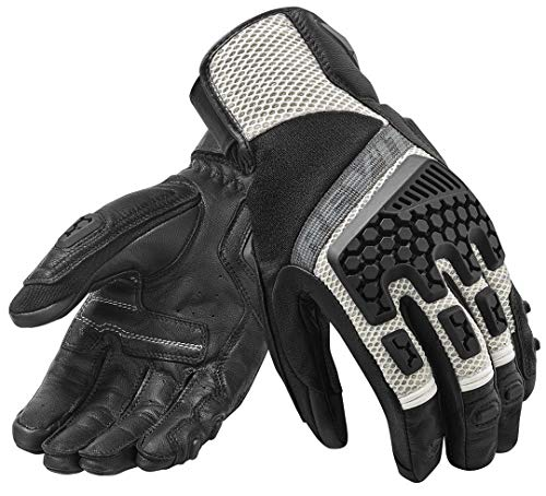 Hake Protective Men Motorcycle Adventure Touring Ventilated Gloves Leather Off-Road Motorbike Gloves Gray XL