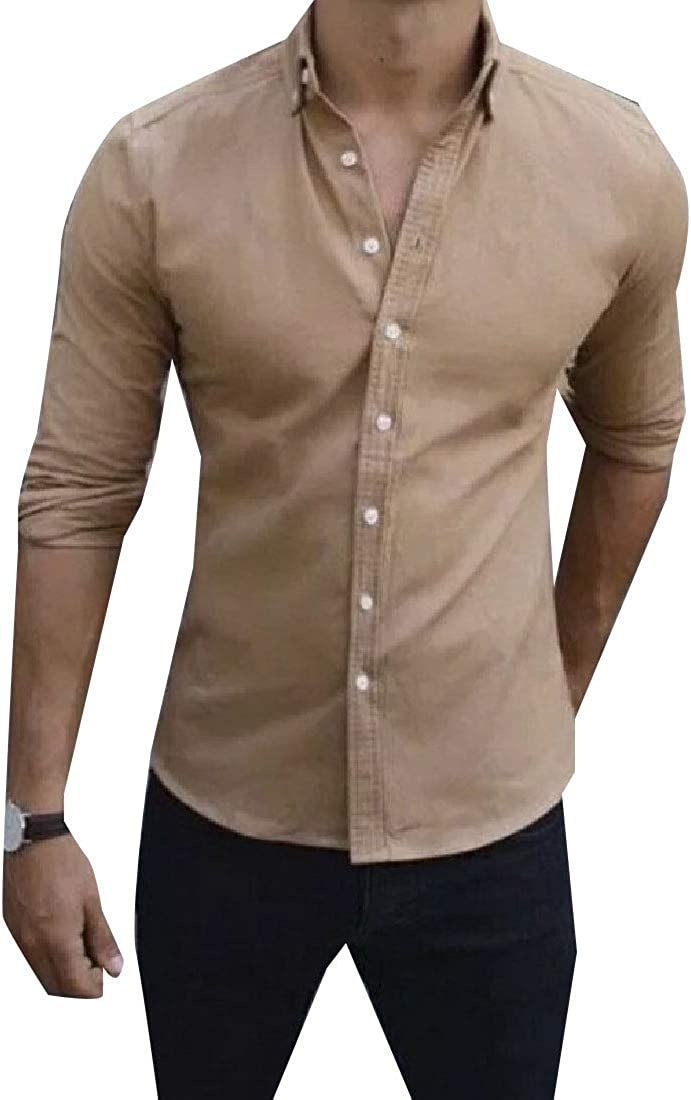 Tootless-Men Fit Fashion Button Long Sleeve Pure Color Relaxed Shirts