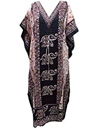RiSi Women's Elephant Print Kaftan, V-Neck Kimono Long Caftan Dress