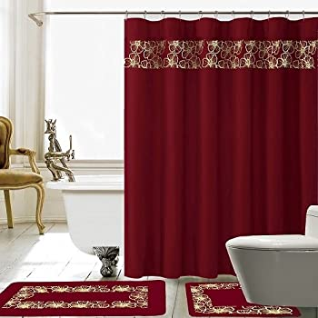 Amazon Com Burgundy Flower 18 Piece Bathroom Set 2 Rugs