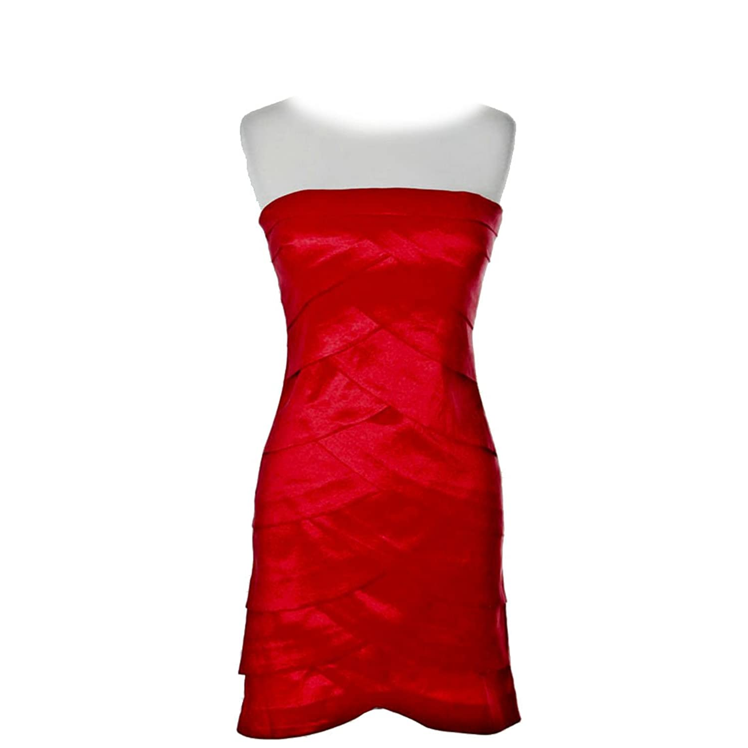 Red Layered Tube-Top, Bandage Style, Satin Dress