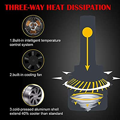 H7 LED Headlight Bulbs + H11/H8/H9 LED Headlight Bulbs Conversion Kit TURBO SII D6 Series CSP Chips Low Beam/Fog Light Bulbs with fans- 6000LM 6000K Cool White (4Pack,2 sets): Automotive