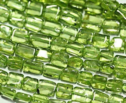 Beads Bazar Natural Beautiful jewellery 5 Strands Lot Natural Green Peridot Smooth Rectangle Chiclet Gemstone Loose Craft Beads 14