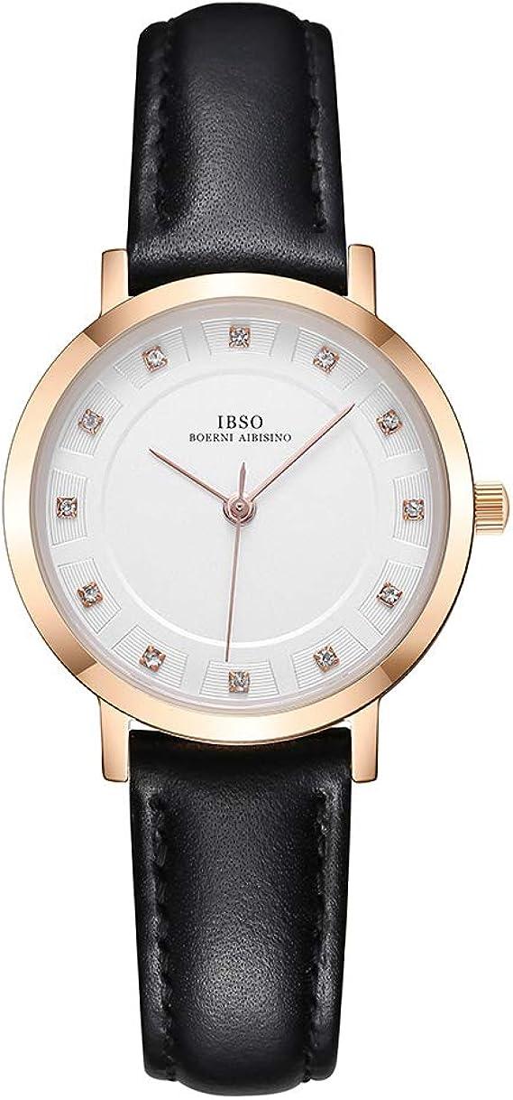 Amazon.com: IBSO Ladies Relojes Banda de Cuero Round Case ...