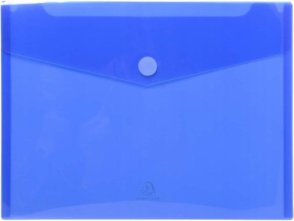 Exacompta 56422E - Bolsa de 5 fundas en forma de sobre y cierre con velcro, A4, color azul