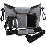 OLIVIA & AIDEN Stroller Organizer Set - Universal Fit Durable Multi Pocket Stroller Bag, Padded Shoulder Strap, Stroller Safety Belt Wrist Strap, 2 Stroller Bag Hooks – Carriage Accessories Set
