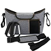 OLIVIA & AIDEN Stroller Organizer Set - Universal Fit Durable Multi Pocket Compact Diaper Bag, Padded Shoulder Strap, Stroller Safety Belt Wrist Strap, 2 Stroller Bag Hooks – Carriage Accessories Set