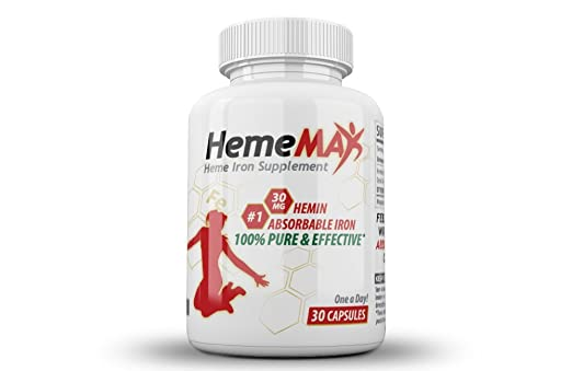 HemeMAX - Heme Iron Supplement for Women and Men | 1 Month Supply | Non-Constipating | Safest Form of Iron | Highest Absorption | 1 Pill = 6oz Steak Worth of Heme Iron | Hemin Supplement