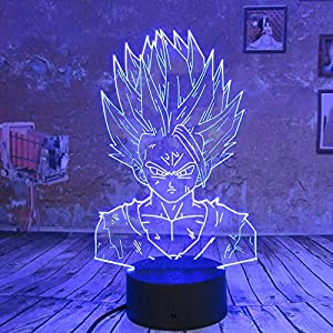 wangZJ 3d Led Lampe Night Light/Lampe Illusion Visuelle 3d / 7 Couleurs Touch/bébé Enfants Sleep Lampe/Cadeau De Noël/Dragon Ball Z Goku 4