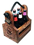 Personalized Wood Beer Caddy with Bottle Opener and Magnetic Bottle Cap Catcher. Handmade Rustic Wooden Six Pack Tote/Carrier - Boxed Split Monogram with Est. Date