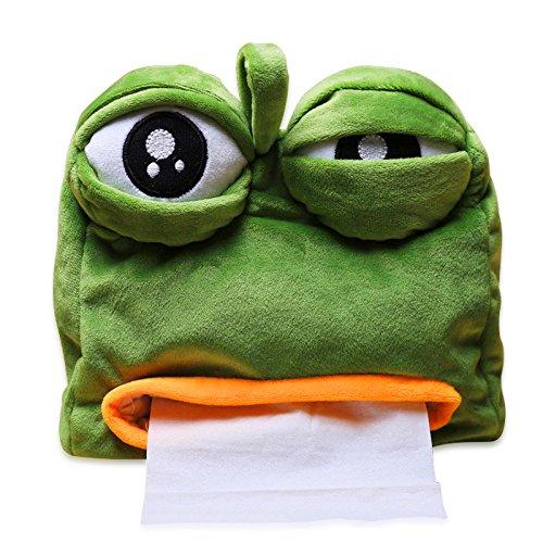YGMONER Sad Frog Feels Bad Man Tissue Box Cover Paper Dispenser Tissues Case Home Decor Funny Gift 8.7x8.3in