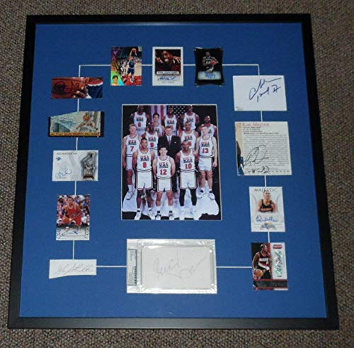 Michael Jordan Signed Display - 1992 USA Dream Team Signed Framed 23x26 Display JSA Michael Jordan Larry Bird ++