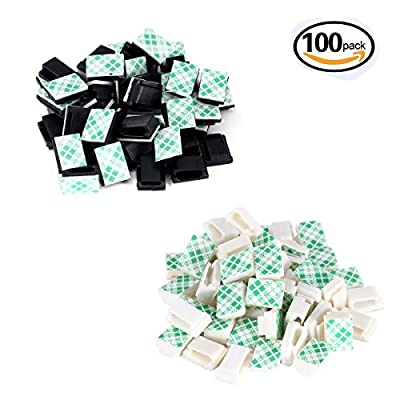 100 Pack Adhesive Cable Holder Cable Clips Wire Clips Cable Tie Cord Management for Home Office Car