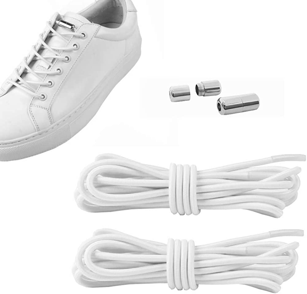 Kiwochy 2 Pairs Elastic Shoe Laces No Tie Shoe Laces Lazy Shoelace Adjustable Tieless Shoe Laces for Sneakers Boots Board and Casual Shoes are Suitable for Adults and Children Long 40.55White
