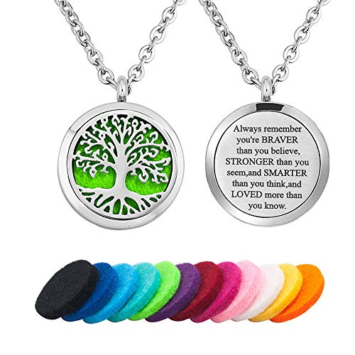 LoEnMe Jewelry Aromatherapy Essential Oil Diffuser Necklace Tree of Life Love Quote Locket Pendant Gift]()