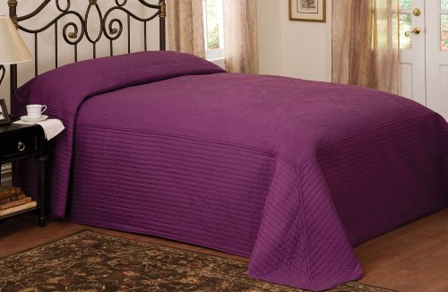 French Tile Quilted Bedspread in Plum, Full Size Bedspread by American Traditions