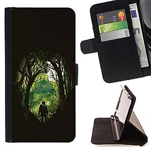Woods Out Of The Dark - Modelo colorido cuero de la carpeta del tirón del caso cubierta piel Holster Funda protecció Para Apple iPhone 5C