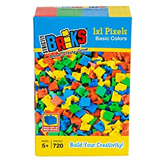 Strictly Briks Classic Bricks 720 Piece 1x1 Blue, Green, Red, and Yellow Pixel Building Creative Play Set - 100% Compatible with All Major Brick Brands - Arts and Crafts