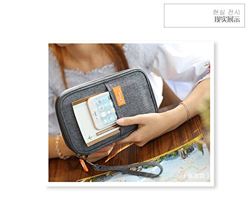 P.travel Waterproof Travel Passport Women's Wallet and Credit Card Holder Ticket Document Bag Small Clutch with Zippered Pockets Carry Money, Tickets, Documents Includes Smartphone Pocket (Gray)