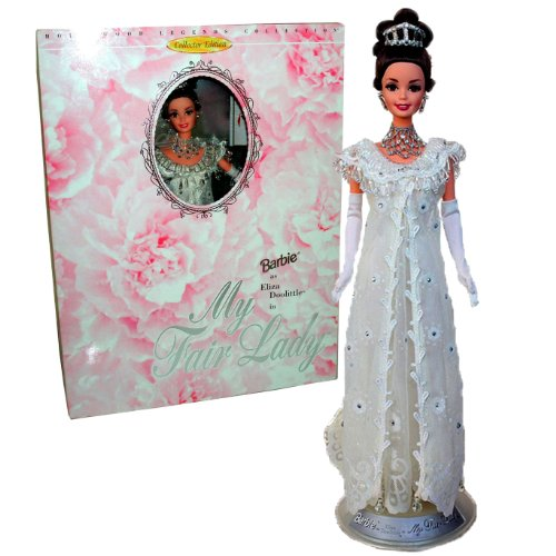 "Mattel Year 1995 Barbie Collector Edition Hollywood Legends Collection Classic Movie ""My Fair Lady"" 12 inch Doll Set - Barbie as Eliza Doolitle with Sheer Lace Evening Gown with Rhinestone and Beads, Long Gloves, Tiara, Necklace, Earrings, Shoes, Doll Stand, Mini Movie Poster and Certificate of Authenticity (15500)"