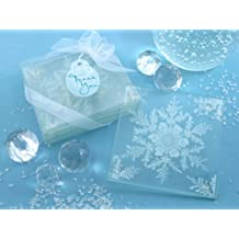 """Artisano Designs """"Shimmering Snow Crystal"""" Frosted Snowflake Glass Coasters, Set of 4"""
