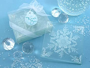 Artisano Designs QuotShimmering Snow Crystalquot Frosted Snowflake Glass Coasters Set