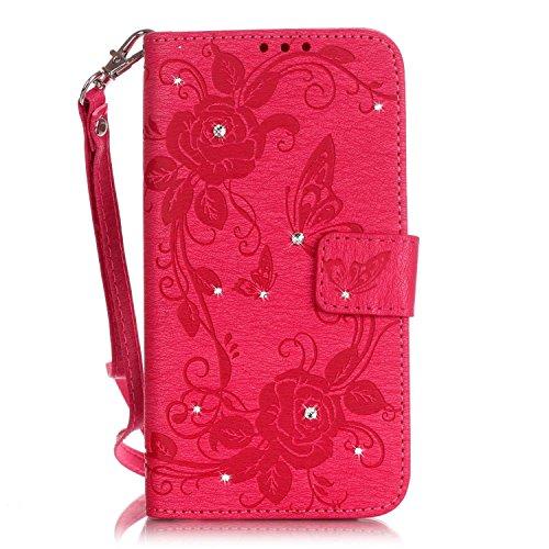 Voguecase® für Apple iPhone 6/6S 4,7 hülle, Kunstleder Tasche PU Schutzhülle Tasche Leder Brieftasche Hülle Case Cover (Diamant/Schmetterling liebt Blumen IV/Rosa) + Gratis Universal Eingabestift