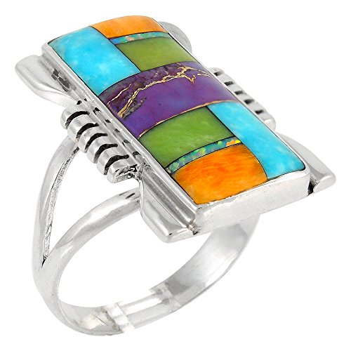 Sterling Silver Ring with Genuine Turquoise & Gemstones (SELECT color) (Multi-01, 6) (Color Sterling Silver Stone Ring)
