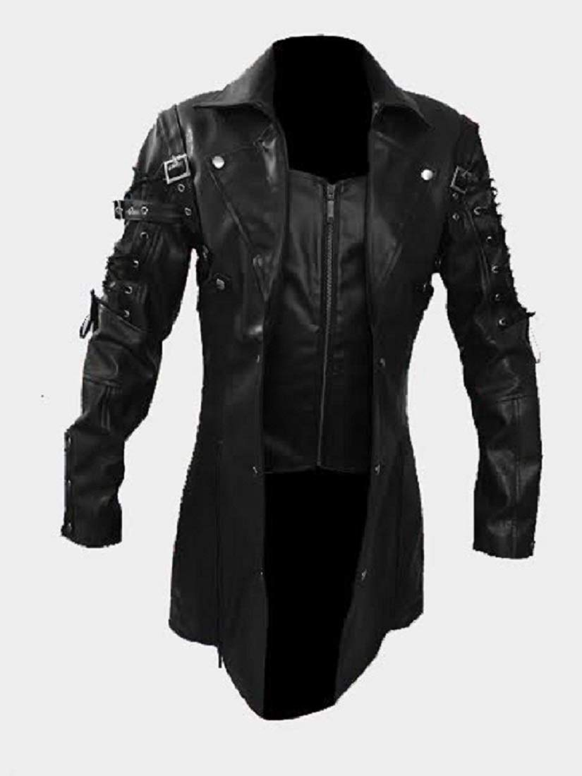 Mens Real Black Faux Leather Coat Goth Matrix Trench Coat Steampunk Gothic 4