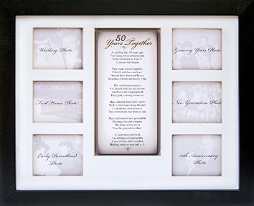 "50th Anniversary Collage Picture Frame - 11""x14"" Photo Wall Frame with 6 (3"" x 2.75"") Openings and a Beautiful Poem Displayed in Center - ""50 Years Together"" (50th Wedding Anniversary Poem)"