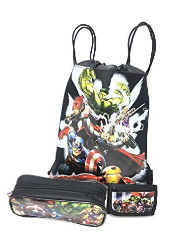 Marvel Avengers Character Authentic Licensed Wallet, Pencil Case, Sling Backpack Bag-3 Items ()