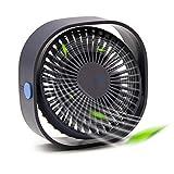 Hertekdo USB Ventilador de Escritorio, Mini Ventilador Eléctrico Portátil de Enfriamiento con 3 velocidades, Potente y Super Silencioso Ventilador Ideal para Oficina, Hogar (Azul)