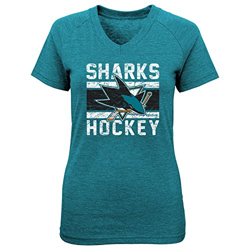 fan products of NHL San Jose Sharks Girls Iced Lines V-Neck Short Sleeve Tee, Large/(14), Black