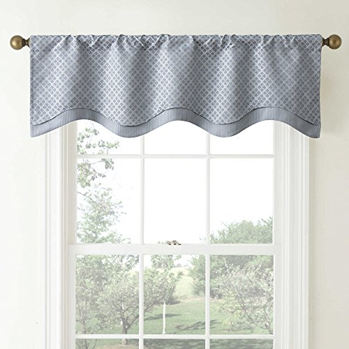 (W-C Home Fashion,LLC. Waterford Linens Campbell Double Scalloped Window Valance in Dusty Blue)