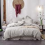 Lausonhouse Linen Duvet Cover Set,100% French Linen Duvet Cover Set,Luxurious 3 Pieces Bedding Set - King - Gray