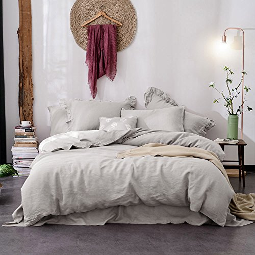 Lausonhouse Linen Duvet Cover Set,100% French Linen Duvet Cover Set,Luxurious 3 Pieces Bedding Set - King - Gray (Seersucker Sheets Bed)