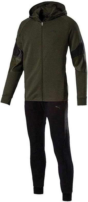 PUMA Tejido de algodón, Sudadera Verde con Capucha, pantalón Negro ...