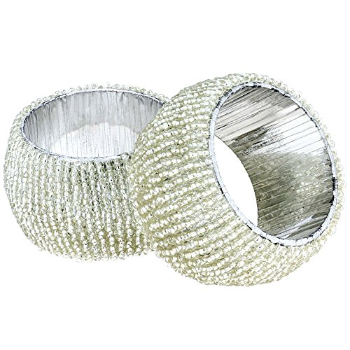 Large Product Image of Handmade Indian Silver Beaded Napkin Rings - Set of 6 Rings