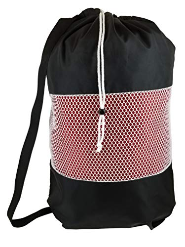 B&C Nylon Mesh Perfect College Laundry Bag with Reliable Shoulder Strap-28 X34-100% Nylon, for Heavy Duty Use, College Laundry Bags, Laundromat and Household Storage, Machine Washable (Black)