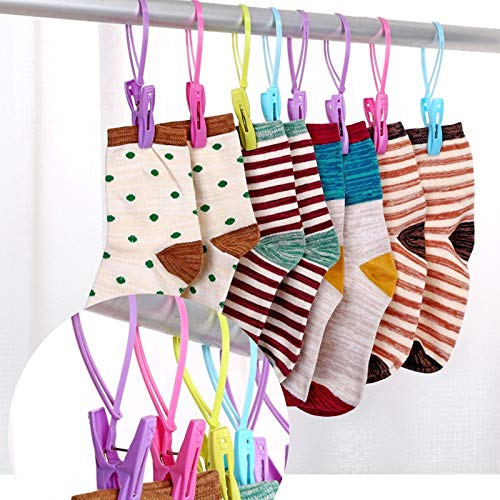 Clothes Pegs - 12pcs Plastic Clothespins Portable Hook Laundry Clips Bra Socks Hanger Anti Wind 8 No23 - Colored Hanging Container Small Stainless Socks Pegs Hooks Steel Pins Clips Hanger