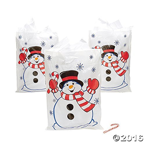 Fun Express Large Christmas Snowman Gift Bags - 50 (Christmas Shopping Bags)